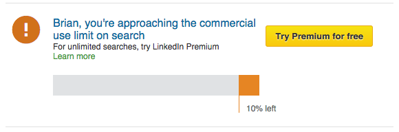 LinkedIn Commercial Use Limit on Search